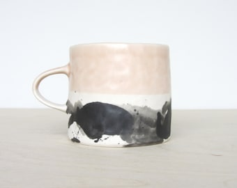 Porcelain Pinched Splatter Mug in Peach- Made to Order