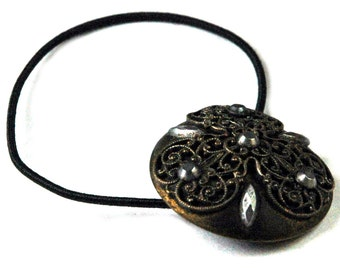 Delicate Brass Filigree Hair Accessory, Antique Button Ponytail Holder, Steel Rivet & Brass Decorative Metal Elastic Hair Tie, Gothic Style