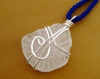 rare Irish sea glass necklace with sun ray pattern. Sunbeam