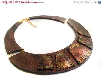 "50% OFF SALE Copper color leather necklace Bib necklace Statement collar Leather jewelry ""Geometry of Metamorphose"" collection"