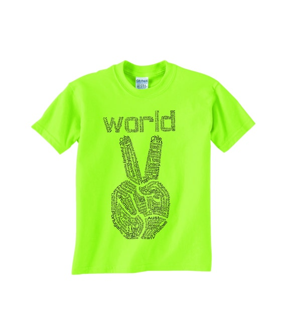 Kids World Peace T shirt, graphic tee, youth peace shirt, boys and girls, peace sign, Peace for Christmas, kids gift, cool kids tshirt