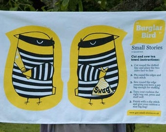 SALE - Burglar bird cut and sew tea towel