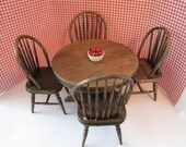 Dollhouse table, four kitchen chairs, round table, country table, dark oak table, twelfth scale, dollhouse miniature