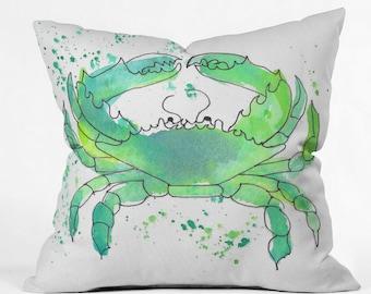 Seafoam Green Crab Throw Pillow