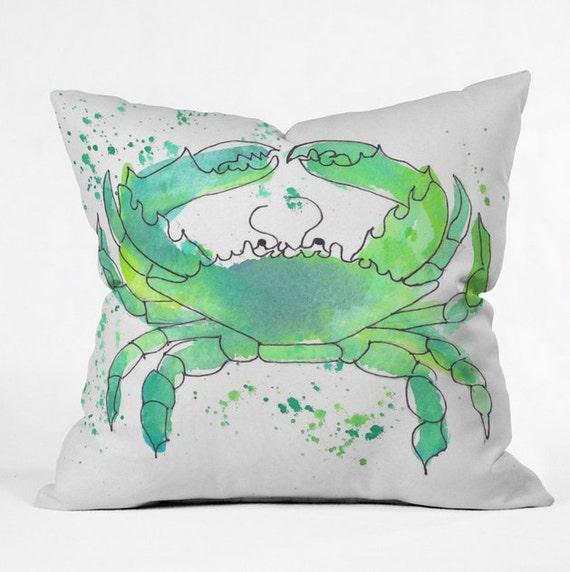 Throw Pillow Seafoam Green : Seafoam Green Crab Throw Pillow