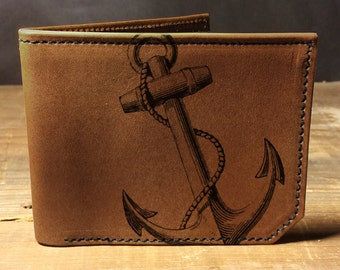 leather wallet - mens wallet - Anchor wallet- 028