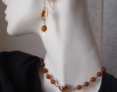 Orange Necklace Set Assemblage Reclaimed From Vintage Necklace