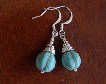 Turquoise Pumpkin Earrings with Silver Plated over Brass