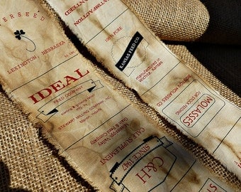 Finely Distressed Feed Sack Handmade Ribbon - Perfect for Decorating Your Farmhouse!