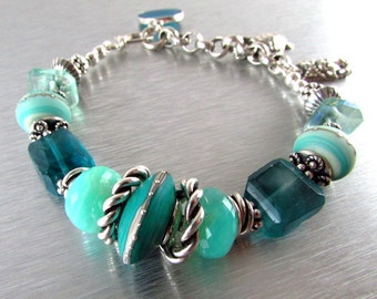 Gemstone and Lampwork Chunky Sterling Silver Bracelet - Day At The Beach