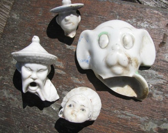 FOUR Excavated Bisque Porcelain Doll Heads