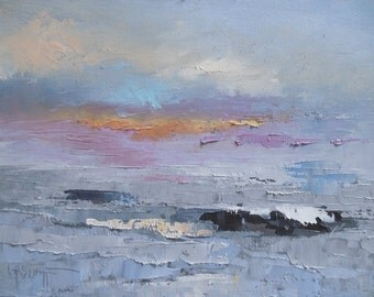 """Small Seascape, Gray angry sea, Small Oil Painting, """"Churning"""", 6x8"""" Oil"""