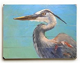 Wildlife giclee,  print on wood plank, Impressionist art,  Great Blue Heron,  choose your size, free shipping, ready to hang, no frame