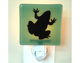 SALE - Frog Night Light - Hand Painted Glass - Frog Gift