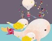 Childrens Art, Nursery Prints, Art for Kids Room, Whale Art - 'Beluga Gumballs' by Schmooks
