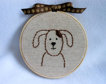 Dog Wall Hanging in Wooden Hoop, Home Decor, Canine, Mutt, Paw Print Ribbon, Pet, Dog Embroidery