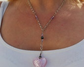 "Heart pendant Coupon Murano Pink glass sterling necklace heavy chain 26"" Illuminating puffy heart"