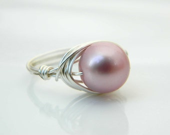 Swarovski Pearl Ring - Size 7.5 - Pearl Ring - Silver Rose, Powder Rose Pearl Rings, Pink, Light Pink, Baby Pink, Candy, Jewelry Pearl Ring