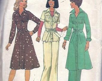 1970s Vintage Sewing Pattern - Shirt Dress Sewing Pattern - Tunic Pantsuit - 70s High Waist Pants Pattern  -Simplicity 7649