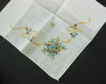 Vintage White Hanky/Handkerchief With Printed Corner Floral Design, Bride's Bouquet?