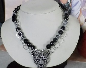 Striking Call of the Wild Crystal Panther  Necklace