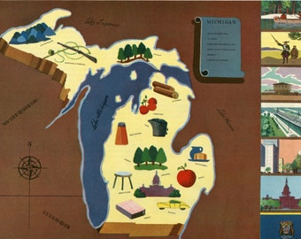 VIntage Pictorial Map of Michigan 1939 World's Fair