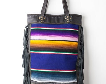 Handcrafted Lola Leather FRINGE Tote Laptop Bag by Bird Trouble in Chicago MADE to ORDER