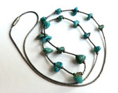 Vintage Turquoise Nugget Silver Necklace 17 Turquoise Stones
