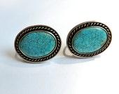 CUSTOM ORDER C Vintage Sterling Turquoise Oval Earrings Spiderweb Turquoise