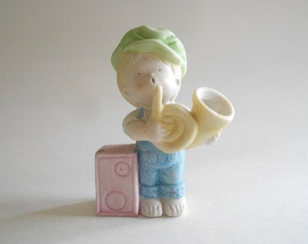 Boy Figurine Boy With French Horn Vintage 1983 Collector's Edition Porcelain Figurine Vintage Figurine Boy Statue Boy Musician