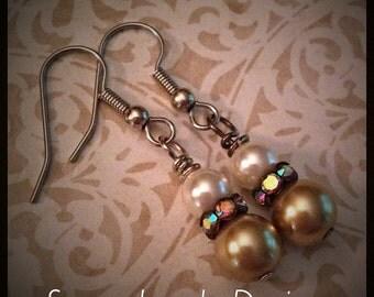 Beaded Earrings - Swarovski pearls -  crystal AB rondelles - surgical stainless steel ear hooks