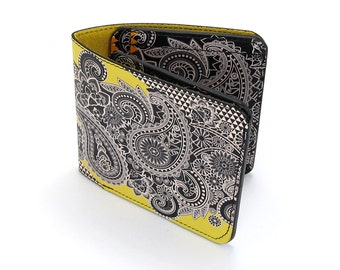 Leather Wallet /  Men's Leather Wallet  / Leather Card case  - Hacked Paisley No.1