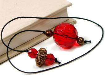 Red Brown Beaded Bookmark Book Thong Book Cord String Bookmark Gift under 5 Book Club Teacher Gift