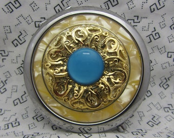 Gold pocket mirror with protective pouch - pocket gift for friends - round compact mirror gift - gold compact mirror - day break