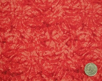 COUPON Code Sale - Red Mottled Fabric, 100% Cotton Quilt Fabric, Red Tonal Fabric, Quilting Fabric, END of BOLT