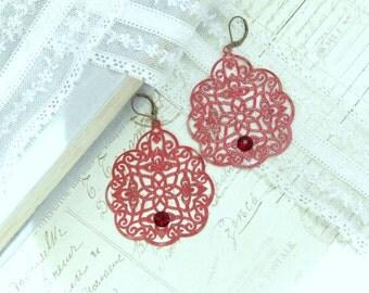 Red Boho Earrings Red Filigree Earrings Bohemian Earrings Red Drop Earrings Extra Large Earrings