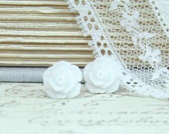 White Rose Earrings Rose Stud Earrings White Rose Studs Rose Jewelry Hypoallergenic Rose Earrings