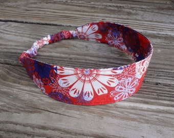 SALE Fabric Headband with Elastic: Red and Blue Boho Floral