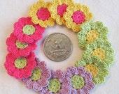 Tiny Crochet Flowers, 12  Small Handmade Appliques, Craft Supplies