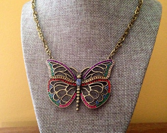 Butterfly necklace, statement necklace, butterfly jewelry