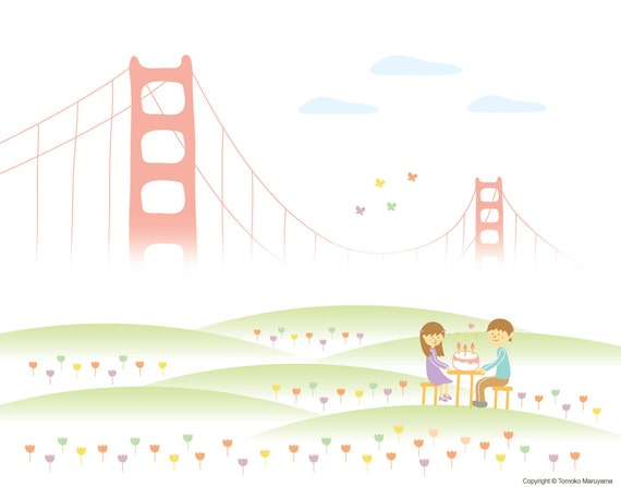 Birthday Cake Design San Francisco : Sweet Happy Birthday Art Print San Francisco Golden Gate