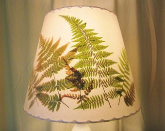 Woodland Fern Lampshade, Pressed Flower Lamp Shade, Botanical Lampshade, Washer Top Shade, Custom Lampshade, Autumn Ferns, Christmas Fern