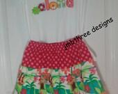 SAMPLE SALE Aloha Hula skirt set size 6/6x  Ready to Ship