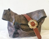 Best Selling Bag, Bohemian Bag, Faux Suede with Brass Slider Strap in Stone Grey, Vegan Bag