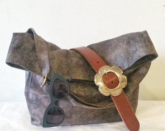 Vegan Crossbody Bag in Stone Grey Faux Suede, Vegan Suede Bag, Foldover Crossbody Bag