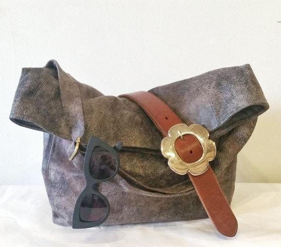 Vegan Crossbody Bag in Stone Grey Faux Suede, Vegan Suede Bag, Foldover Crossbody Bag