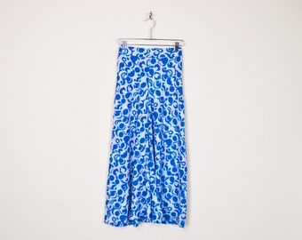 Vintage 70s Blue Psychedelic Op Art Print High Waist Wide Leg Pant Palazzo Pant Bell Bottom Pant 70s Pant Hippie Pant Hippy Pant S Small