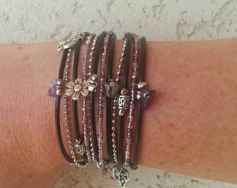 Brown Boho Wrap Bracelet - Leather Wrap Bangle - Purple Beaded Bracelet - Choose FOUR Charms - Customizable - Best Selling Item