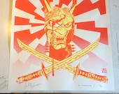 "Lmtd RED and YELLOW edition Metal Hanya Screen Print Autographed by Josh ""Warmaster"" Barnett & Artist"