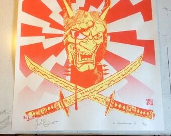 "Lmtd RED and YELLOW edition Metal Hanya Screen Print Autographed by Josh ""Warmaster"" Barnett & Artist"